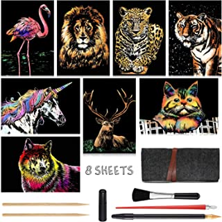 A4 America // Europe Crafts Set: 8 Sheets Scratch Cards with 6 tools in Bag Rainbow Painting Night View Scratchboard Scratch Art for Kids Adults Seattle Cinque Terre New York Statue of Liberty