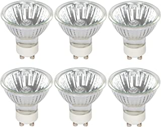 Simba Lighting Halogen GU10 50W Spotlight 120V MR16 with Glass Cover (6 Pack) Dimmable Flood for Accent, Recessed, Track Lighting, 30° Beam Angle, Twist-N-Lock Twistline Base, Warm White 2700K