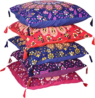 Krati Exports Indian Floor Pillow Cushion Covers in Mandala Design (Mix Color 16 x 16 inch)