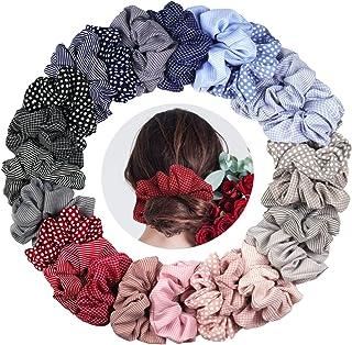 KATELUO 24 st hårsnoddar chiffong elastiska hårband hårsnodd hårsnodd för kvinnor eller flickor hårtillbehör – 24 blandade...