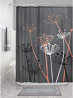 iDesign Thistle Fabric Shower Curtain, 72 x 72-Inch, Gray/Coral