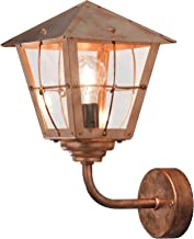 Konstsmide Pa Handmade Outdoor Fenix Small Up Classic Coach Lantern/1 x 60 W Max Wall Lamp/Smoked Glass Panels/Solid Coppe...