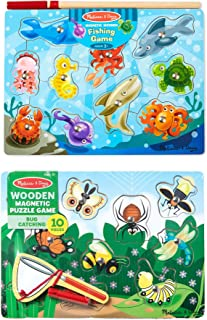 Melissa & Doug Magnetic Wooden Puzzle Game Set, 2-Pack, Fishing and Bug Catching..
