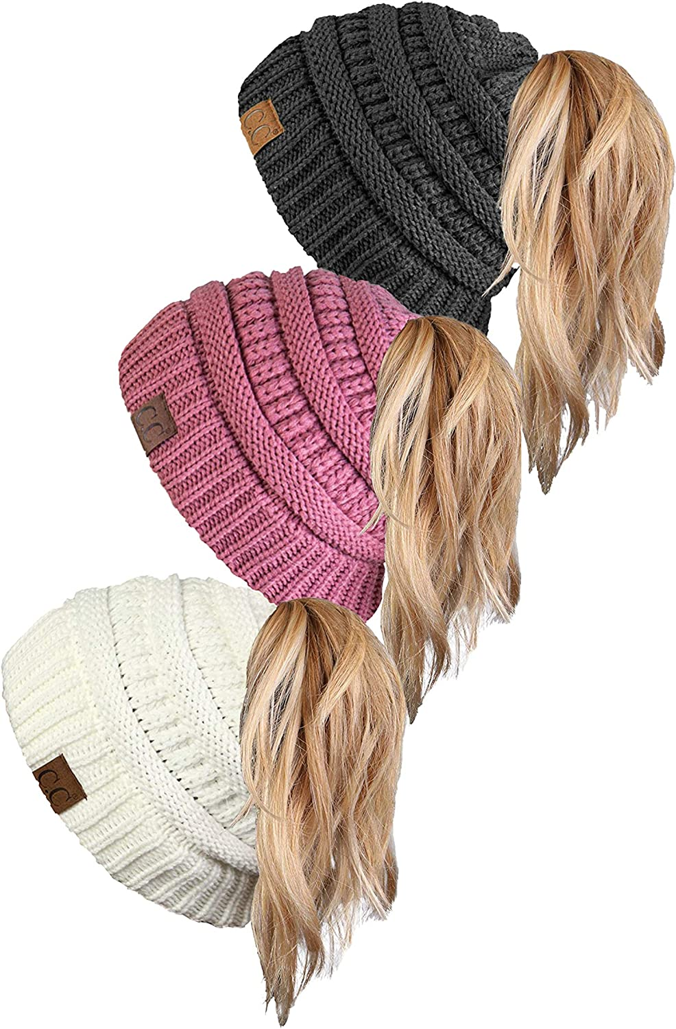 Funky Limited time for free Outlet ☆ Free Shipping shipping Junque Ponytail Messy Bun Beanie BeanieTail Women's Solid