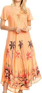 Sakkas Irem Women Everyday Caftan Long Dress Kaftan with Corset and Lace Sleeves
