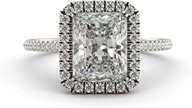 3.35 tcw Forever Charles Colvard Moissanite Radiant Cut & Halo Round Cut Diamond Vintage Unique Custom Engagement Ring Solid 14k White Rose Yellow Gold