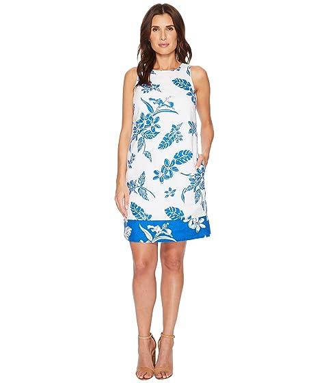 Hibiscus Hiatus Short Dress, White/Cobalt Sea, White/ Cobalt