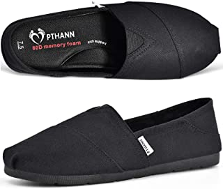 PTHANN Classic Black Flats Shoes Women with Arch Support, Black Loafers for Women Canvas Shoes Walking Flats with Memory F...
