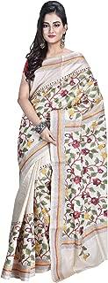 SareesofBengal Women's Tussar/Kosa Silk Handloom Kantha Stitch Saree (K050, Multicolour, Free Size)