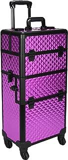 (Purple Diamond) - SUNRISE Makeup Case on Wheels 2 in 1 Professional Artist Organiser I3161, 4 Slide and 1 Removable Tray, 4 Wheel Spinner, Purple Diamond