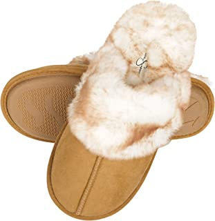 Women's Comfy Faux Fur House Slipper Scuff Memory Foam Slip on Anti-skid Sole