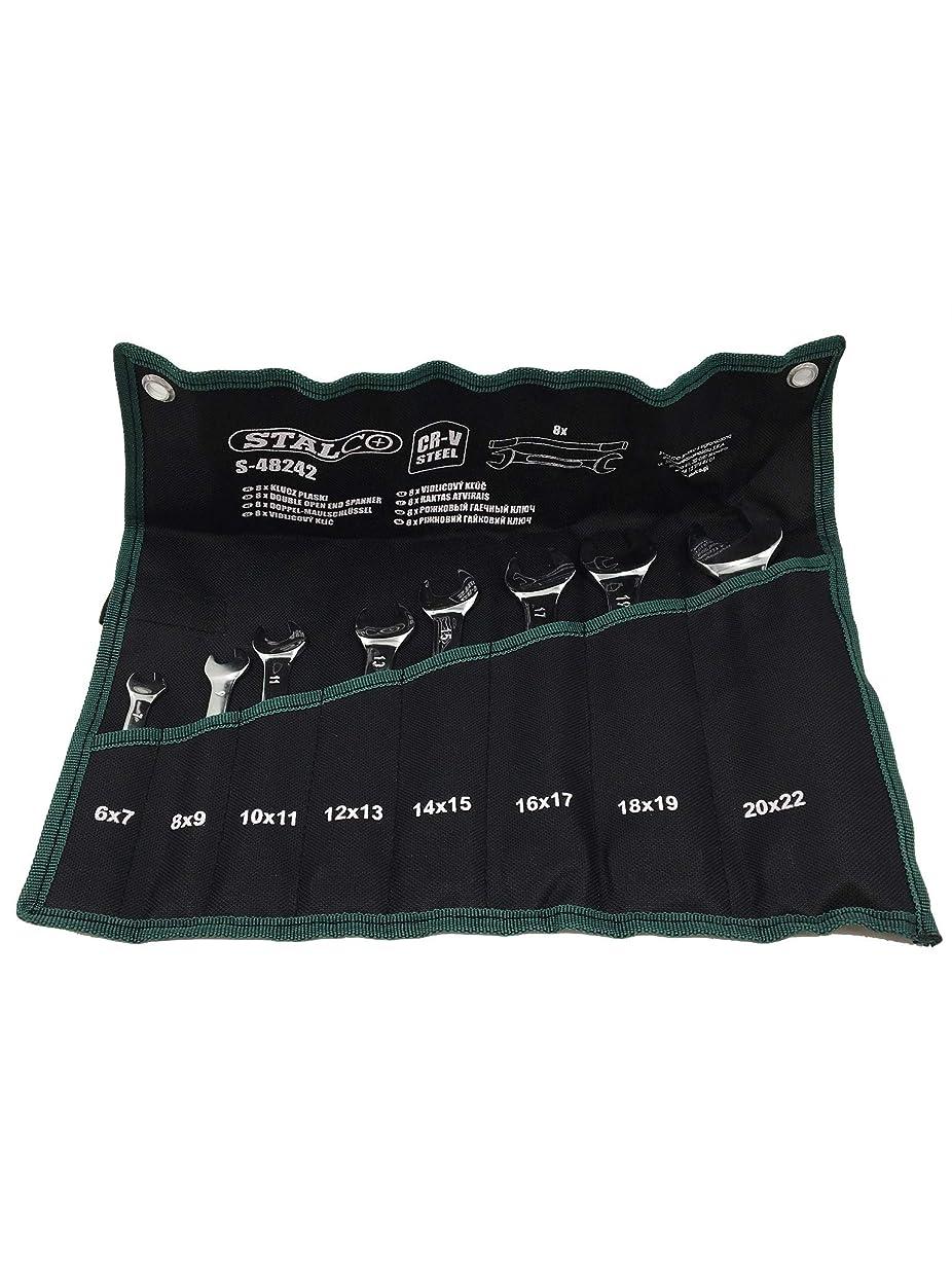 基準リレー死ぬローリングバッグ付き12 6-22 mm高品質クロームスチールのスタルココンビネーションスパナセット、シルバー