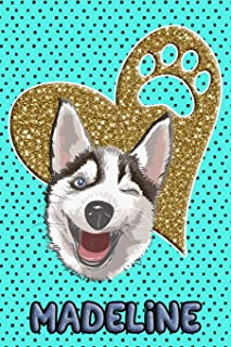 Husky Life Madeline: College Ruled Composition Book Diary Lined Journal Blue
