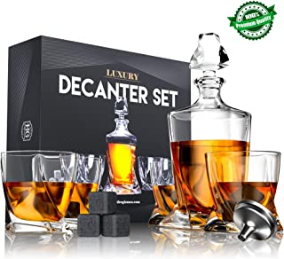 Premium Twist Glass Decanter Set with 4 Liquor Glasses, Rum, Scotch, Bourbon, Whiskey Decanter Set Mens Gift with 9 Cooling Whisky Stones and Funnel, Crystal Clear Liquor Decanter Drinking Set