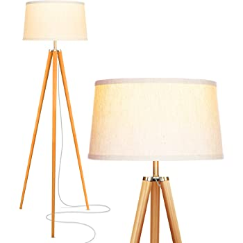 Brightech Emma Tripod Floor Lamp – Mid Century Modern Standing Light for Contemporary Living Rooms - Tall Survey Lamp with Wood Legs Matches Trendy Boho & Vintage Bedrooms - with LED Bulb
