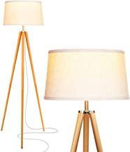 Brightech Emma LED Tripod Floor Lamp – Mid Century Modern Standing Light for Contemporary Living Rooms - Tall Survey Lamp with Wood Legs for Bedroom, Office - Wood