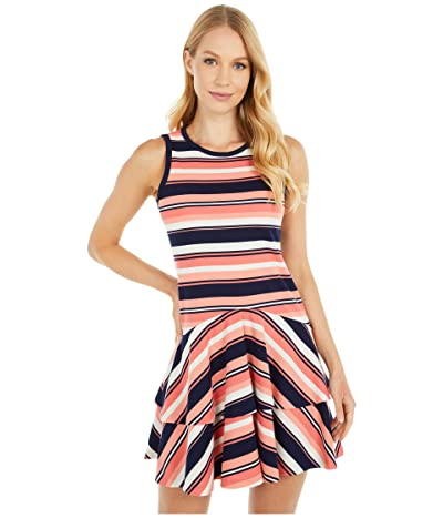 MICHAEL Michael Kors Petite Stripe Ottoman Sleeveless Flounce Dress (Coral Peach) Women
