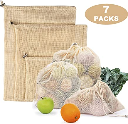 Reusable Produce Bags - Organic Cotton Mesh Zero Waste Biodegradable Grocery Bag Superior Quality Double Stitched with Drawstrings Set of 7 Small - Medium - Large with Tare Weights