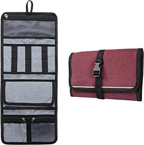 FATMUG Travel Organizer Bag for Small Electronic and Accessories Gadgets Kit Case Pouch Maroon