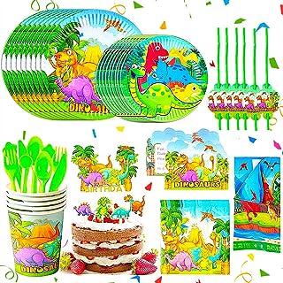 BETOY Fiesta Diseño de Dinosaurio, Vajilla de Dinosaurio Desechable - Set de 110 Piezas de Fiesta Diseño de Dinosaurio, In...