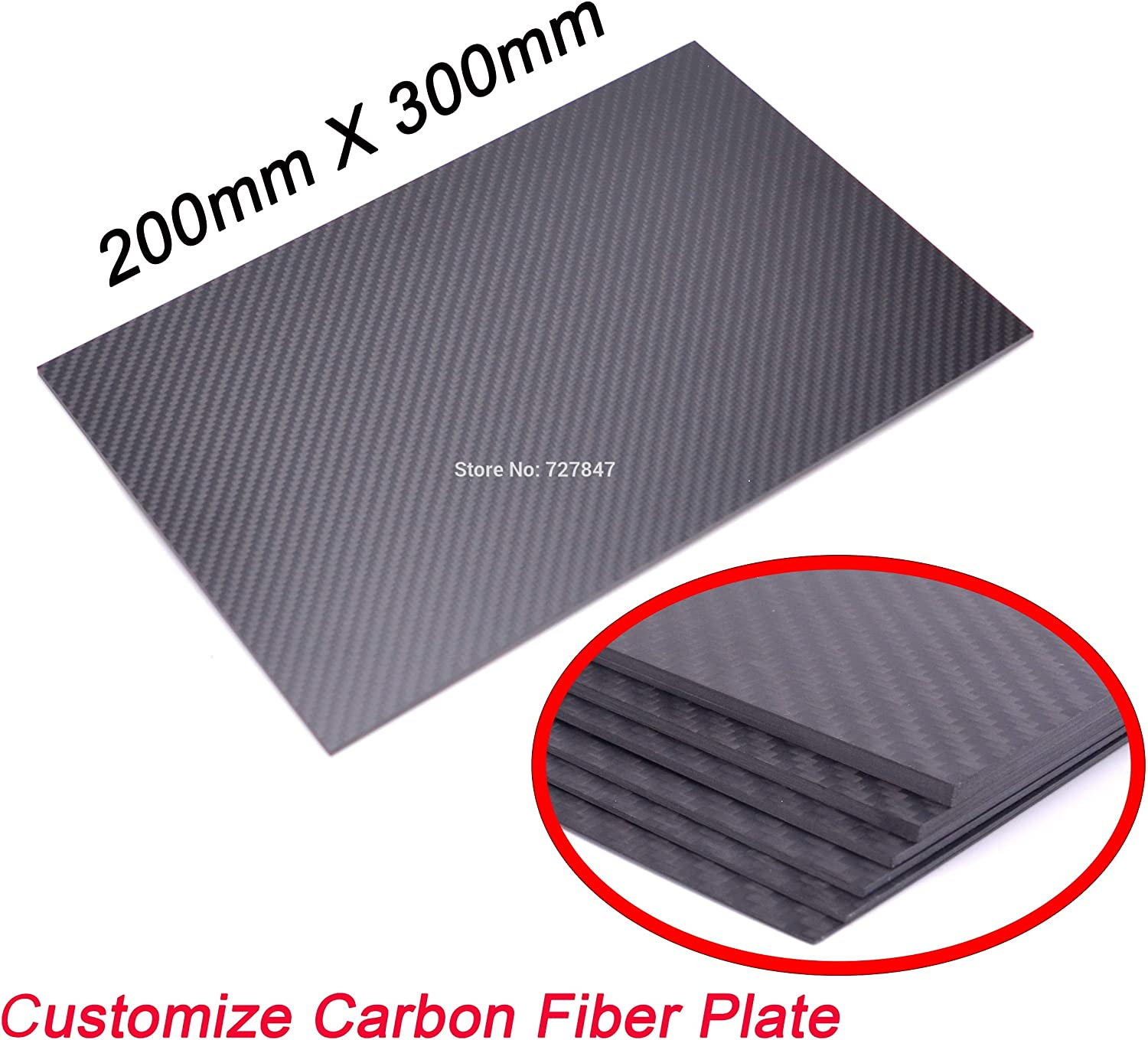 Laliva 3K Full Carbon Fiber 200mm X 300mm 0.5 1 1.5 2 3 4 5mm Thickness Real Carbon Fiber Plate Panel Sheets High Composite Hardness RC - (color  0.5mm Thickness)