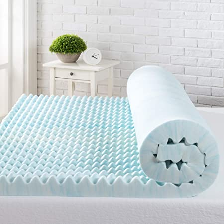 King Zinus 3 Inch Cooling Convoluted Copper Swirl Memory Foam Mattress Topper with Air Flow Design//Antimicrobial /& Odor-Resistant Foam//Pressure Relieving Contoured Surface