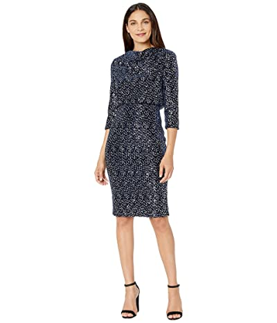 Badgley Mischka Sequin Velvet Blouson Cocktail Dress (Navy/Silver) Women