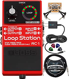 BOSS RC-1 Loop Station Looper Pedal Bundle with Blucoil Slim 9V 670ma Power Supply AC Adapter, and 10-FT Mono Instrument Cable, 2-Pack of Pedal Patch Cables, and 4-Pack of Celluloid Guitar Picks