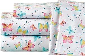 Elite Home Microfiber Watercolor Butterflies Sheet Set, Twin Butterflies