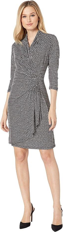 3/4 Sleeve Cascade Wrap Dress