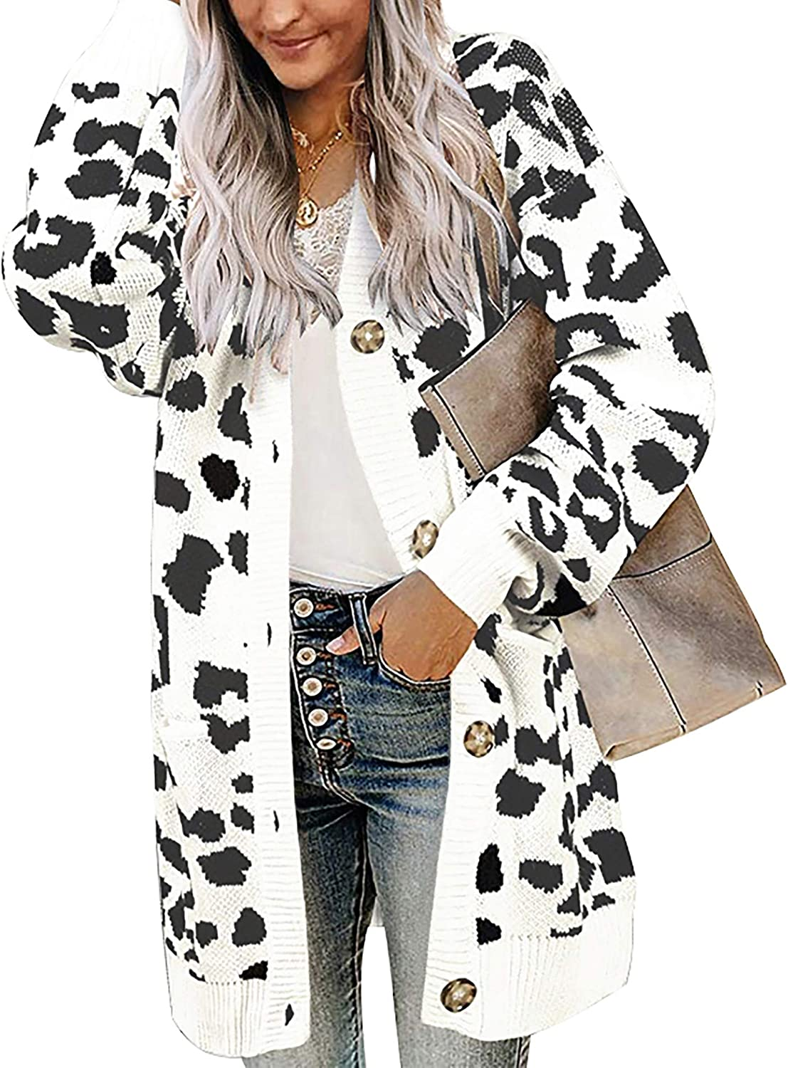 BTFBM Women Chic Leopard Print Cozy Sweaters Button Down Open Front Loose Knitted Long Sleeve Cardigan Outwear Coat
