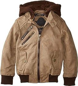 Hemsworth PU Suede Moto Jacket w/ Fleece Hoodie (Little Kids/Big Kids)