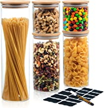 Deco Haus Set van 5 Glazen Opbergpotten met Bamboe Deksel, Luchtdicht, Vaatwasser-, Magnetronvriendelijk, Pot voor Koekje...