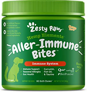 Zesty Paws Allergy Immune Soft Chews + Hemp Seed for Dogs - with Curcumin, Cod Liver Fish Oil, Beta Glucan, Vitamin C & Qu...