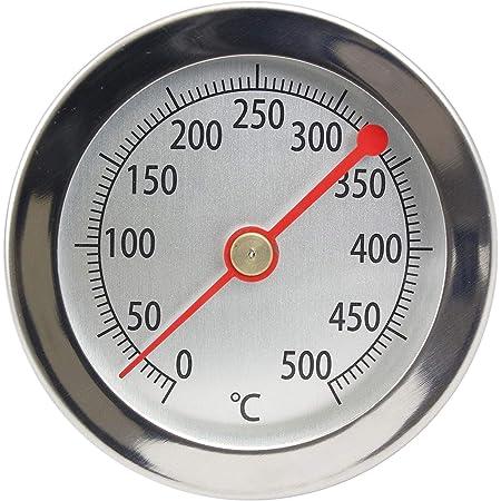 Lantelme 4895 Thermomètre de barbecue 500°C Sonde à clip En acier inoxydable Pour four, four à pizza, four à bois Affichage analogique Thermomètre bimétallique 15 cm