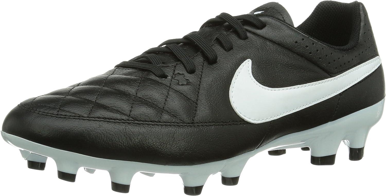Nike Tiempo Genio Leather Firm Ground, Men's Football Boots,Black White, 6 UK (40 EU)