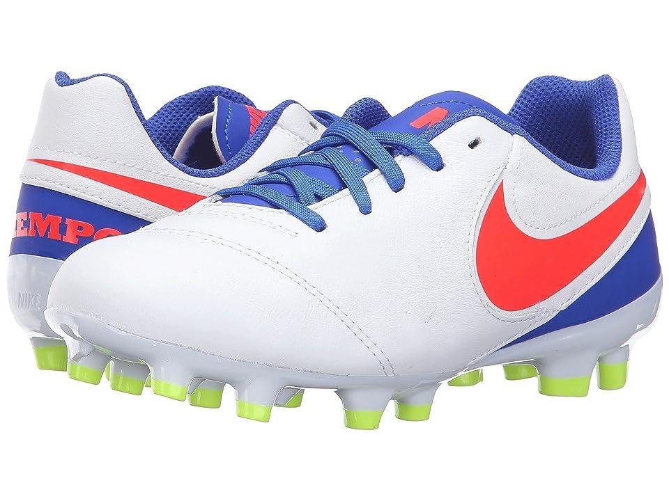 Nike Kids Jr Tiempo Legend VI FG Soccer (Toddler/Little Kid/Big Kid) (White/Racer Blue/Volt/Bright Crimson) Kids Shoes