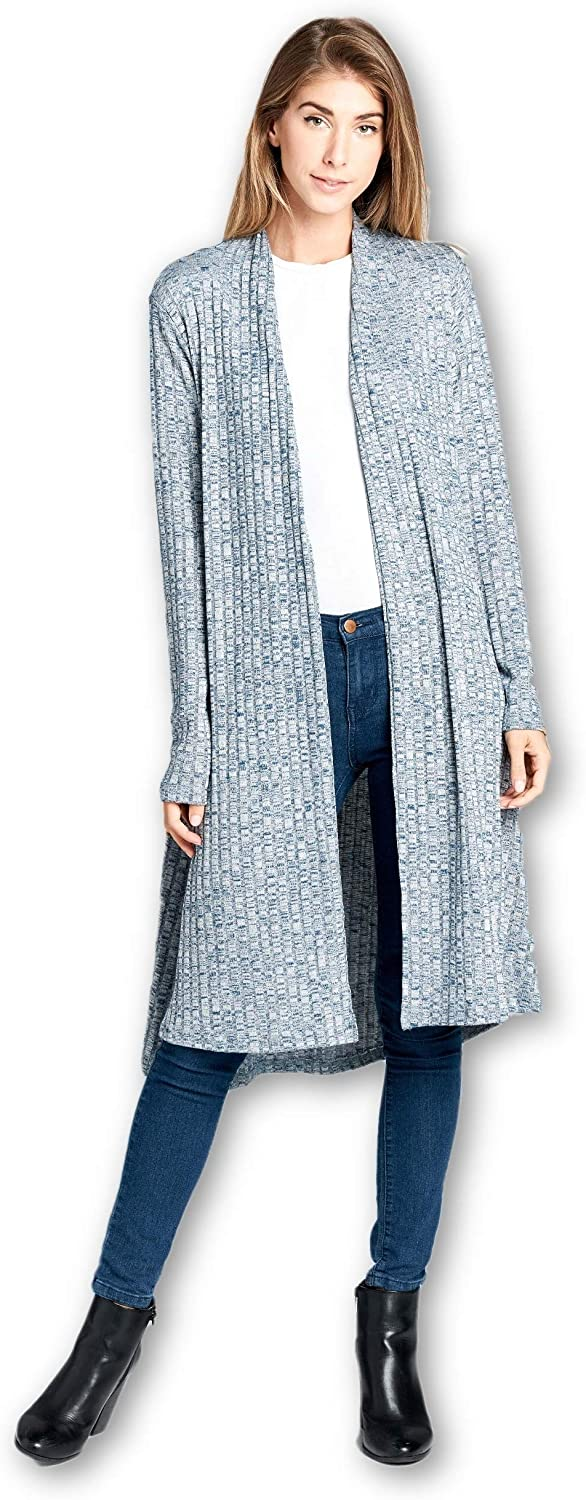 Women's Open Front Solid Knit Long Sleeve Rib Sweater Cardigan - Made in USA