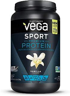 Vega Sport Premium Protein, Vanilla, 20 Servings, 29.2 oz (1 lb 13.2 oz, 828g) Plant-Based Vegan Protein Powder, BCAAs, Amino Acid, tart cherry, Non Whey, Gluten Free, Non GMO (Packaging May Vary)