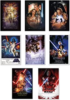 Star Wars: Episode I, II, III, IV, V, VI, VII & VIII - Movie Poster Set (8 Individual Full Size Movie Posters - Version 2) (Size: 24 inches x 36 inches Each)