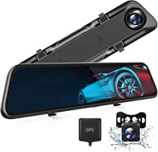 """VanTop H612T 12"""" 4K Mirror Dash Cam for Cars, Voice Control Full Touch Screen Rear View Mirror Camera, GPS Tracking, Water..."""