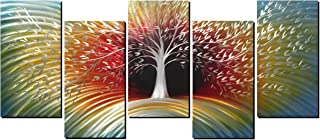 Handcrafted Metal Wall Art with Colorful Wave Tree Design, Abstract Modern and Contemporary Décor, Unique Metal Wall Sculpture, Silver Aluminum Artwork, Indoor and Outdoor decoration, 5 panels 64