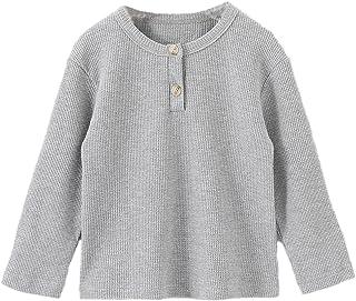Ashmyova Boys Waffle Knit Casual Blouse Shirts Toddler Boys Long Sleeve T-Shirt Tees Tops