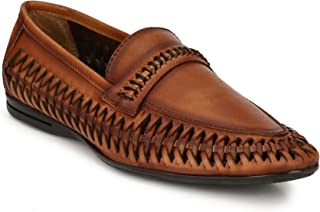 EL PASO Men's Tan Handpainted Genuine Leather Casual Shoes