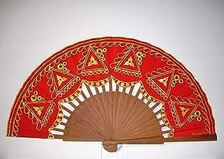"""Ventaglio Spagnolo/Ventaglio dipinto a mano/Ventaglio flamenco/Ventaglio di legno""""Ricamo in oro"""""""