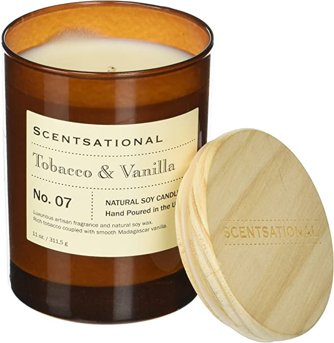 Tobacco Bark Hurricane Tall Candle Refillable Artisan Soy Wax Candle