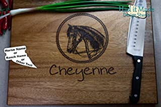 Equine/Horse Cutting Board - Personalized Monogram Cutting Board, Engraved Cutting Board, Custom Cutting Board, Wood Cutting Board W2