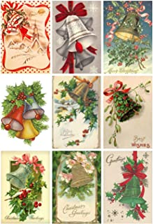 Victorian Vintage Winter Christmas Bells Card #102 Printed Collage Sheet 8.5 x 11