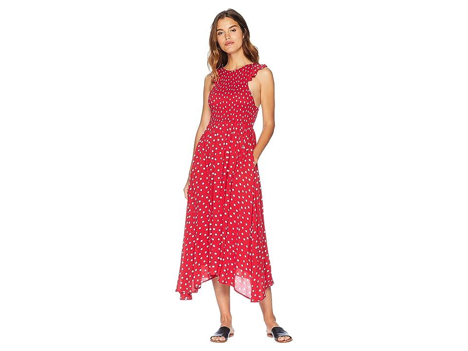 Free People Chambray Butterflies Midi Dress (Red Combo) Women