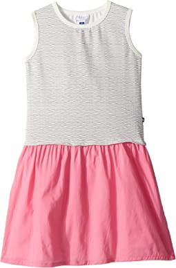 Nautical Stripe Tank Dress w/ Contrast Pink Skirt (Toddler/Little Kids/Big Kids)